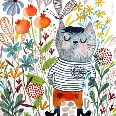 Watercolours by Helen Dardik. I love her work! I managed to buy an original watercolor several years ago.: Admirer Illustrations, Patterns Fashion, Helen Dardik, Cool Cat, Art Inspiration, Watercolour Illustrations, Art Kitty, Illustrations Patterns, Design Blog