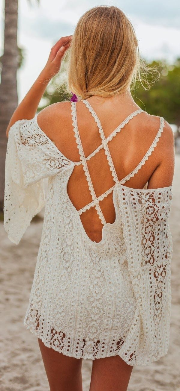 crochet detail mini dress