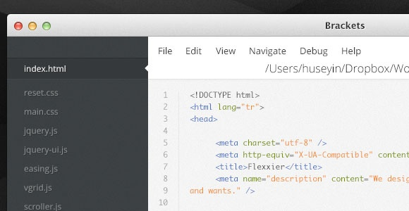 PSD Freebie: Brackets - Text editor UI for coding PSD