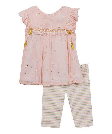 3c2d42d6c2065 Rare Editions Light Pink & Gold Dot Tunic & Stripe Leggings - Girls   zulily