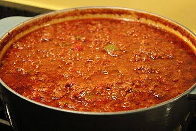 Easy No-Bean Chili- my family's new favorite! Great served like Gold Star Chili!