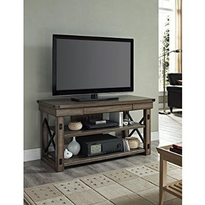 Modern Industrial Rustic Wood and Black Metal TV Stand - for Televisions up to 50 inches Includes ModHaus Living (TM) Pen