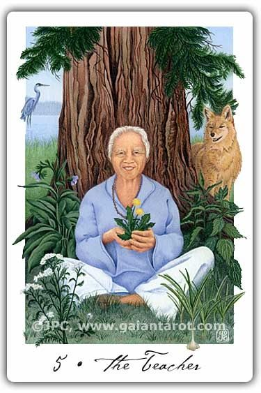 The Hierophant - called The Teacher - from the Gaian Tarot, a very positive, less severe image than the classic Hierophant