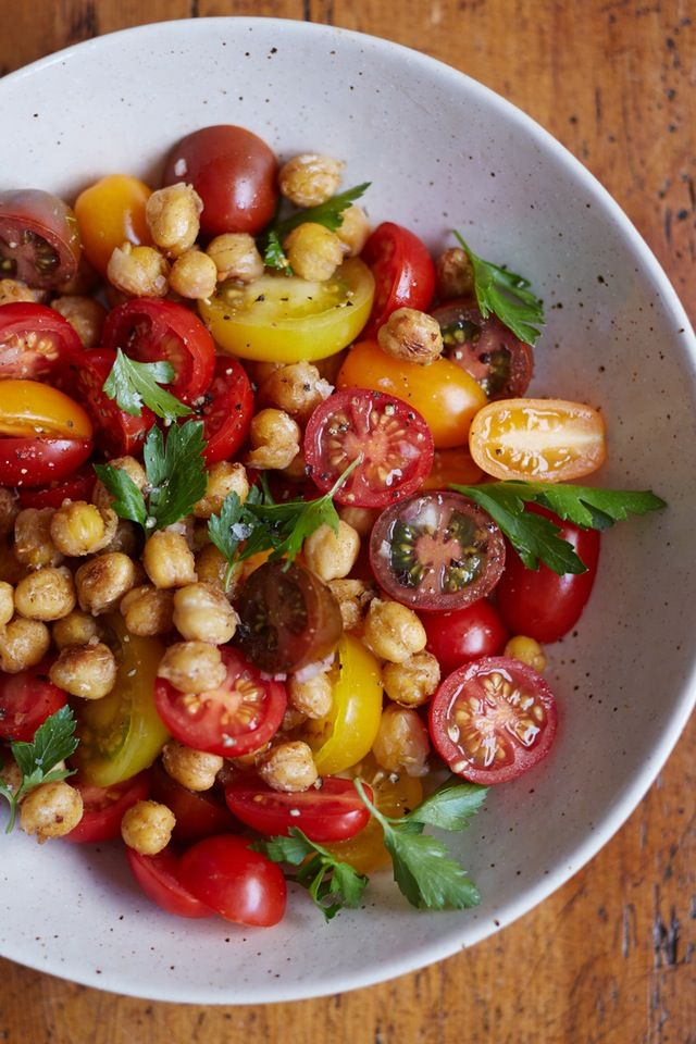This is the kind of salad that can be tossed together at a moment's notice. Filled with good things like chickpeas and cherry tomatoes, it's simple yet still incredibly hearty and satisfying. Enjoy it as a light dinner, or pack it up for lunch and you might even think twice about ditching it for pizza.