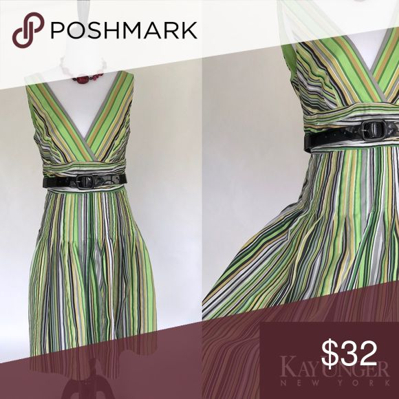 Kay Unger Dress Stripped Green Dress Size 6 Kay Unger Dress Fit and Flare A Line Stripped Green Dress Size 6 Kay Unger New York Green yellow and black stripes V neck Zipper Pleated  Fully lined Black belt Size 6 Like New  Waist: 15 Bust: 17 Length: 39 Kay Unger Dresses Midi