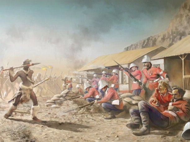 The Battle of Rorke's Drift was a battle in the Anglo-Zulu War. The defence of the mission station of Rorke's Drift immediately followed the British Army's defeat at the Battle of Isandlwana on 22 January 1879. Just over 150 British and colonial troops successfully defended the garrison against an intense assault by 3000 to 4000 Zulu warriors. #history #Zulu #battle #illustration #digital #boxart