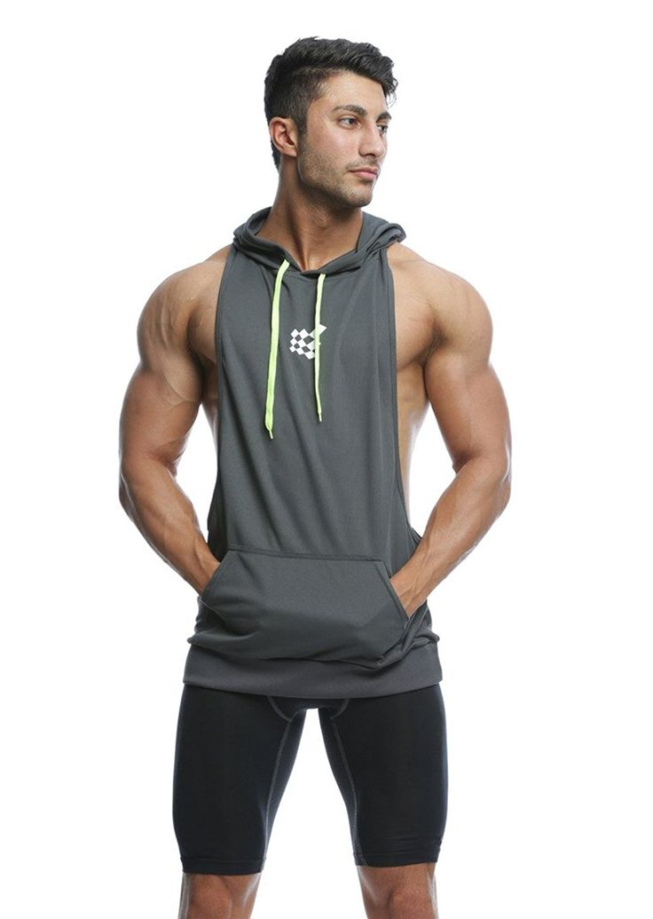 Jed North Bodybuilding Stringer Hoodie Gym Tank Top Racerback Hoodie at Amazon Men's Clothing store: