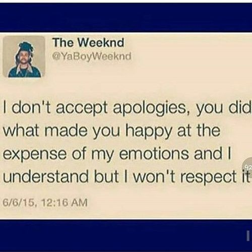 Why I don't accept apologies from ex's (friends/lovers). Run along now. You're time is up & you're wasting mine.