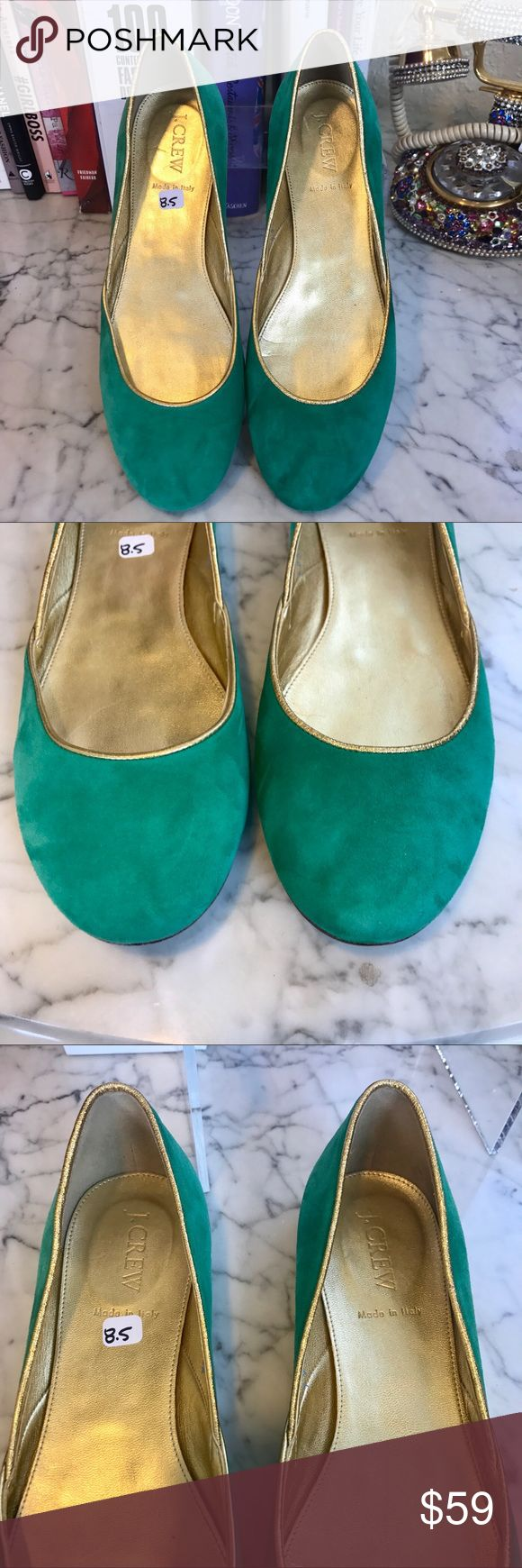 EUC - J. Crew - Green Suede Ballet Flats - SZ 8.5 Like new J.Crew ballet flats in green suede lined with gold trim. Leather soles, made in Italy. No damage or visible signs of wear. These are from the real J. crew store, not the outlet. J. Crew Shoes Flats & Loafers