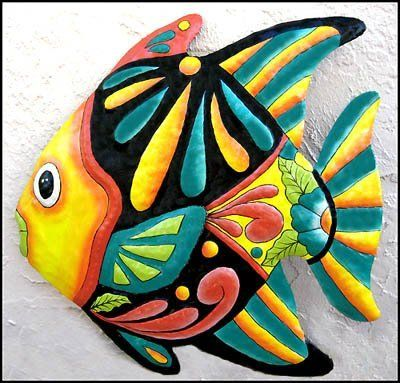 """Yellow & Turquoise Tropical Fish Metal Wall Art - 24' X 24"""" . $59.95. A brightly hand painted metal tropical fish wall hanging for your home. Can be used indoors or outdoors."""
