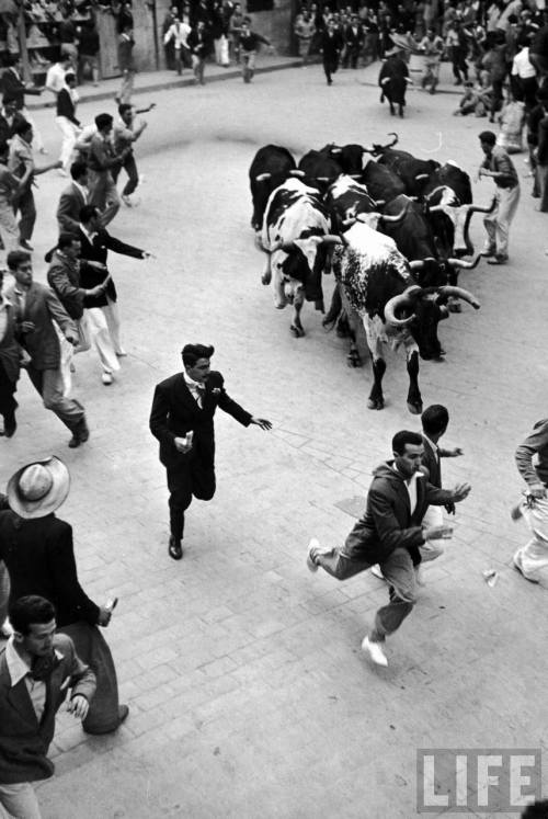 Great vintage shot of the Running of the Bulls.