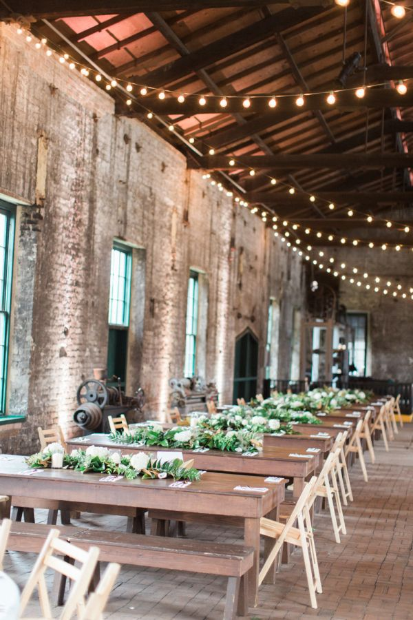 Industrial + minimal reception decor: http://www.stylemepretty.com/georgia-weddings/savannah/2016/06/28/getting-married-in-an-train-museum-has-never-looked-so-good/ | Photography: The Happy Bloom - http://www.thehappybloom.com/