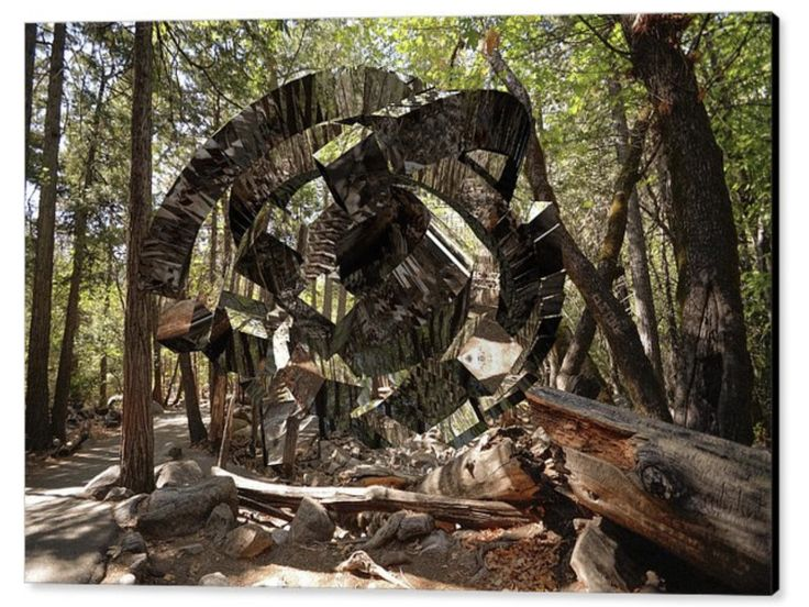 What would you do if you came across this on your stroll through the woods? Pretty freaky to say the least. It looks like some  space junk that's disintegrated on impact. It's quite extraordinary the way the object reflects the environment around it. A sophisticated system of camouflage?