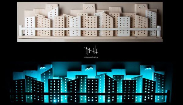 #HomeDécor, #Lights, #RecycledArt, #Wood I made this RGB Backlit Recycled Wooden City Wall Art from recycled pine boards I found. The RGB light strip changes through 16 colors to create a beautiful ambiance.  Make your own Recycled Wooden City Wall Art cityscape to dress up your living