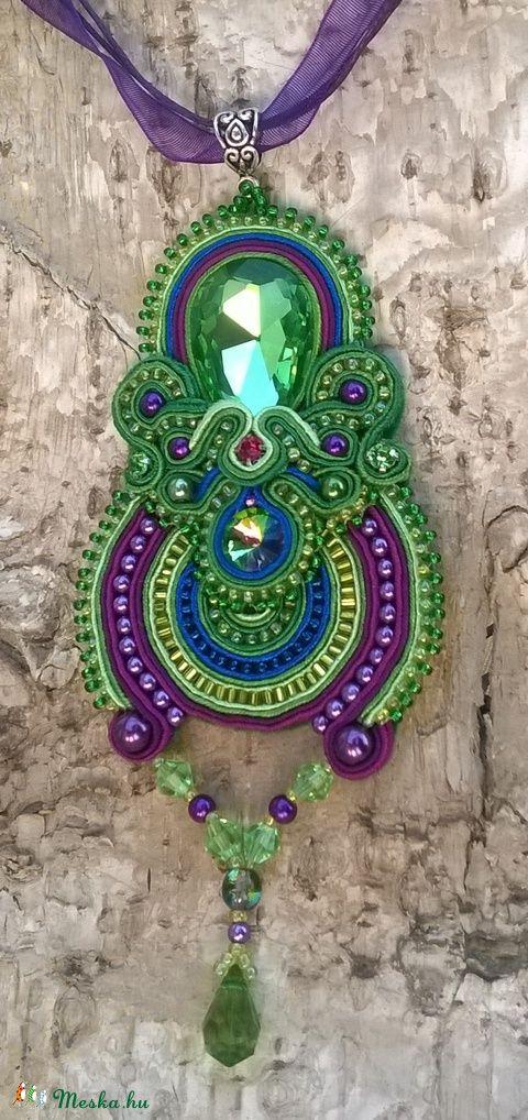 Zöld - lila szett Desigual stílusban, Ékszer, óra, Nyaklánc, Ékszerszett, Meska
