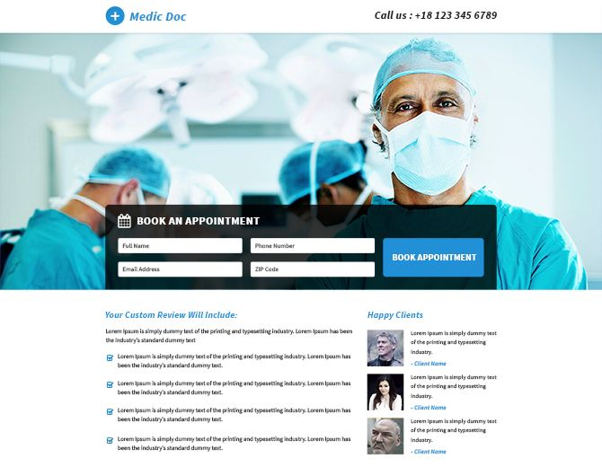 Professional Doctor Medical Service Responsive landing page design template