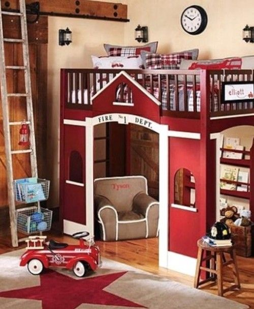 Children Kids Loft Bed Design Ideas with Fire Departments Theme