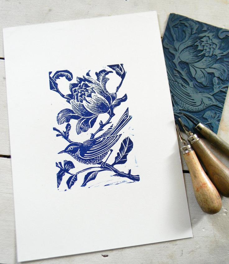 Blue Bird Original Hand Printed Linocut Relief Print. £20.00, via Etsy.
