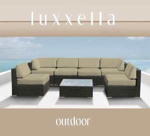 Genuine Luxxella Outdoor Patio Wicker Sofa Sectional Furniture BELLA 7pc Gorgeous Couch Set LIGHT BEIGE