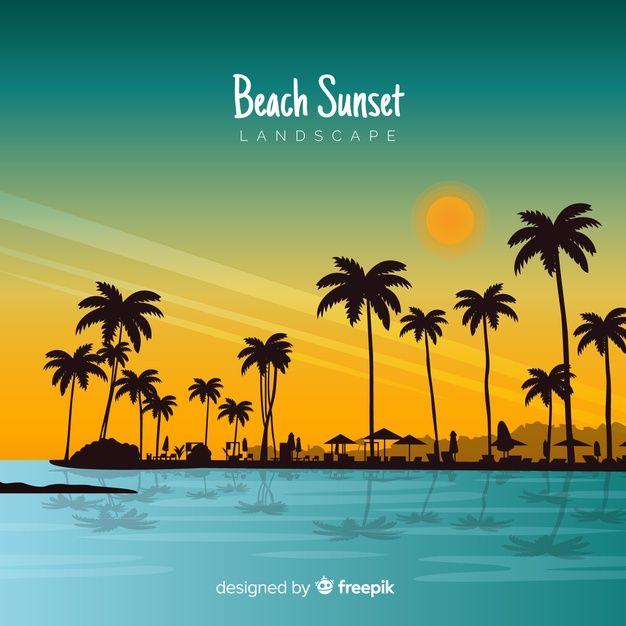 Download Gradient Beach Sunset Landscape For Free En 2020 Fondo Tropical Puesta De Sol Playa Paisaje Atardecer