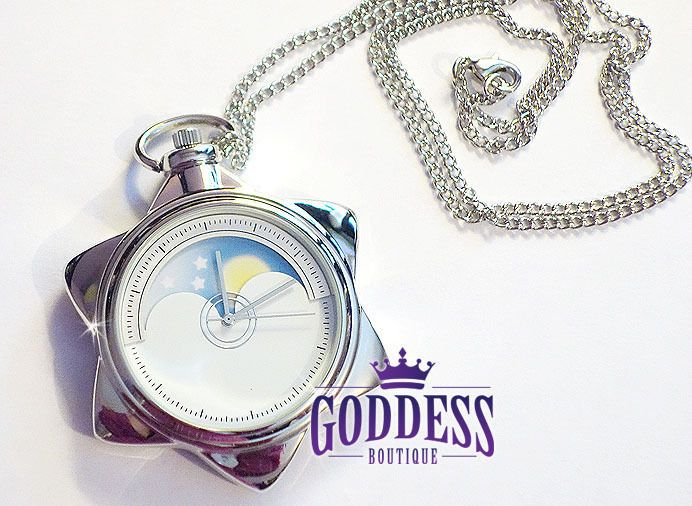 SAILOR MOON CRYSTAL TUXEDO MASK MANGA STAR LOCKET WATCH  NECKLACE COSPLAY SILVER