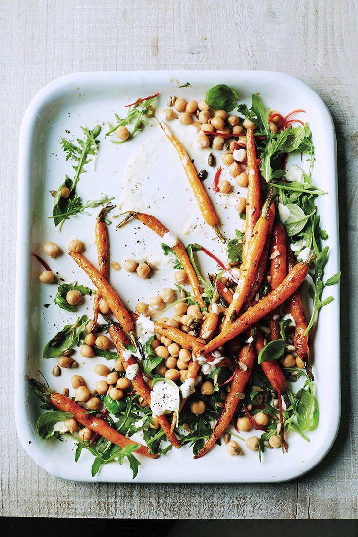 Kichererbsen-Salat mit glasierten Karotten
