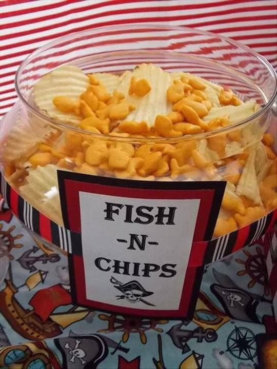Fish & Chips (Goldfish and potato chips) perfect for a nautical theme party.