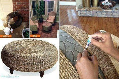 Seagrass Table made out of a Tire!      Shared by Elana while enjoying wicker porch furniture!