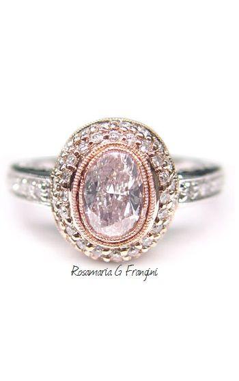 Rosamaria G Frangini | High Pink Jewellery | Cushion Cut Pink Topaz & Diamond Ring in 14K White Gold, Gemvara