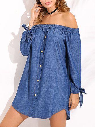 Sexy Off Shoulder Bow Long Sleeve Mini Shirt Dress