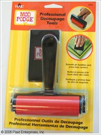 Mod Podge ® Professional Tool Set. This Mod Podge ® Professional Tool Set is essential for any decoupage crafter. The Brayer is used to smooth paper, fabric and other items onto a surface, providing the right amount of pressure to eliminate air bubbles and with no mess. The Squeegee is used to press paper, fabric and other items into hard-to-reach corners.  Design Size: Set Includes: 1 Brayer & 1 Squeegee