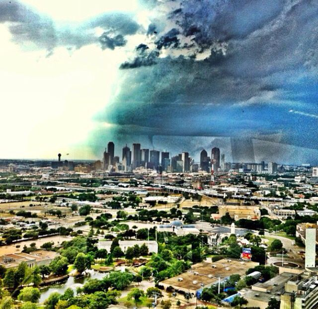 Storm brewing in Downtown Dallas. View from the Texas State Fair grounds.