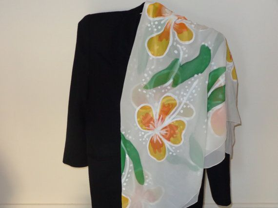 Hand painted silk scarf. Big yellow flowers. Gift for by Scarfaki