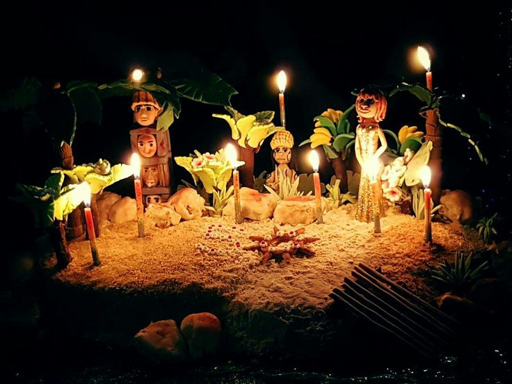 Gilligan's Island looks gorgeous with the candles at night.