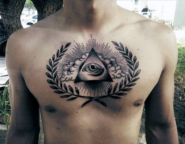 Artistic Triangle Eye Tattoo With Leaves On Chest For Men