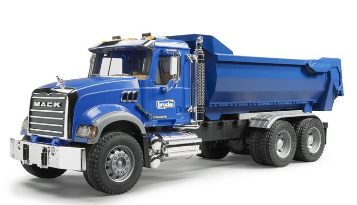 The MACK Granite Halfpipe Tip-Up Lorry is a particularly attractive combination of a large halfpipe tipping trough and a partially chrome-adorned driver's cab. Apart from the opening doors, the driver