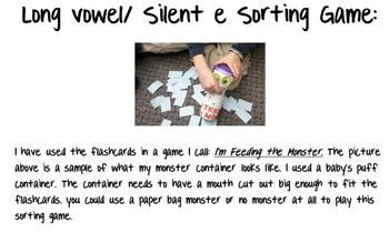 Use these flashcards to create your own long vowel/ silent e word sort. I give a sample of a game I created called
