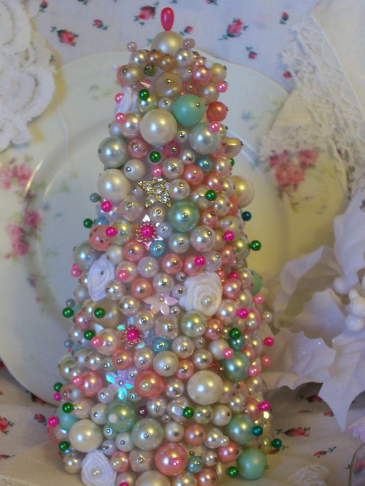 DIY:  Beautiful Vintage Styed Tree. did i show you beads i bought in shabby chic colors