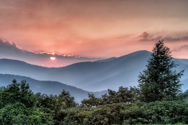 Sunset on Cold Mountain along the Blue Ridge Parkway in North Carolina.