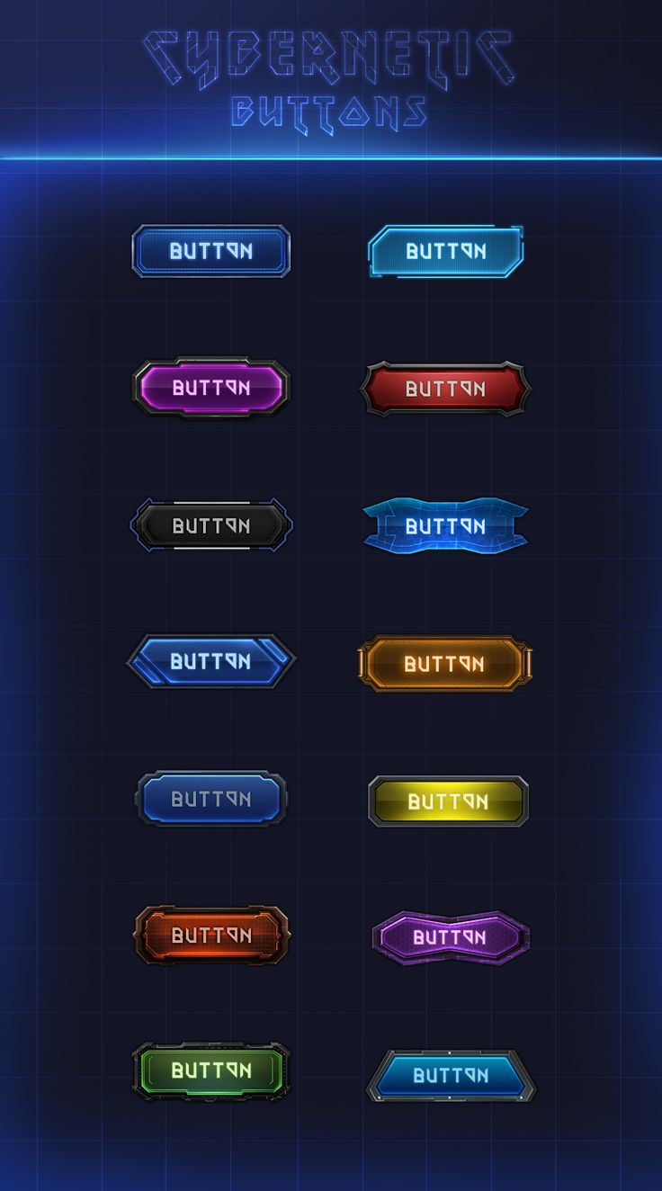 Cybernetic Buttons 2.0 by VengeanceMK1 game user interface gui ui | Create your own roleplaying game material w/ RPG Bard: www.rpgbard.com | Writing inspiration for Dungeons and Dragons DND D&D Pathfinder PFRPG Warhammer 40k Star Wars Shadowrun Call of Cthulhu Lord of the Rings LoTR + d20 fantasy science fiction scifi horror design | Not Trusty Sword art: click artwork for source