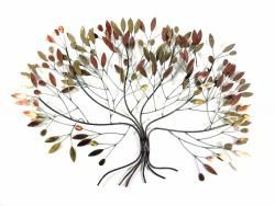 Metal Wall Art   Large Metallic Autumn Leaves Tree