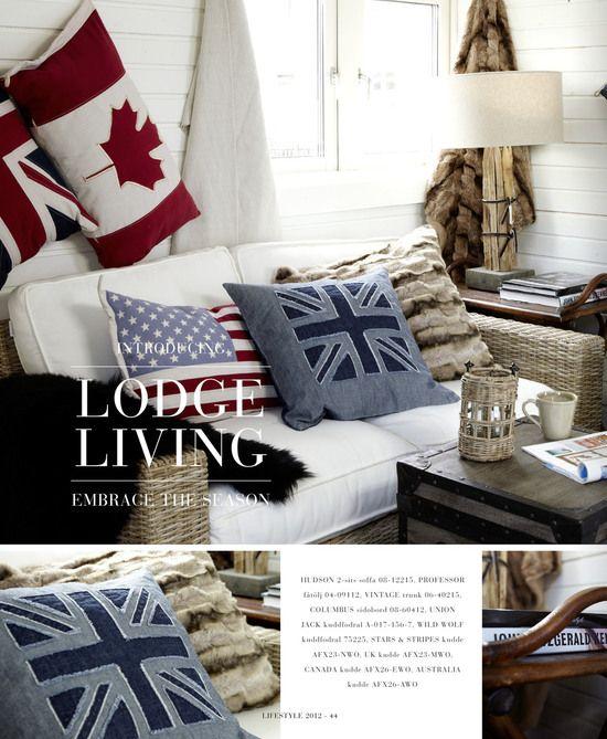 Lodge Living via Artwood rustic wood white leather denim fur wicker rattan plank walls