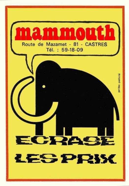 la pub du VRAI mammouth ou petite on allait faire les courses !