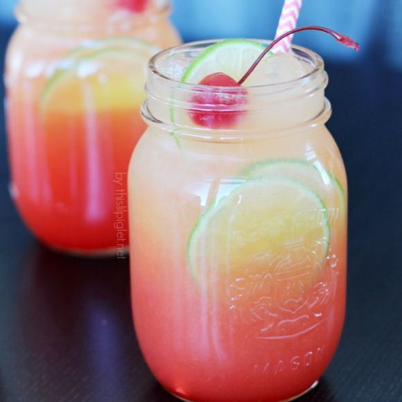Shirley Temple 1/2 cup of orange juice 1/2 of gingerale 1/2 of lime soda 1/2 of grenadine Slice of lime