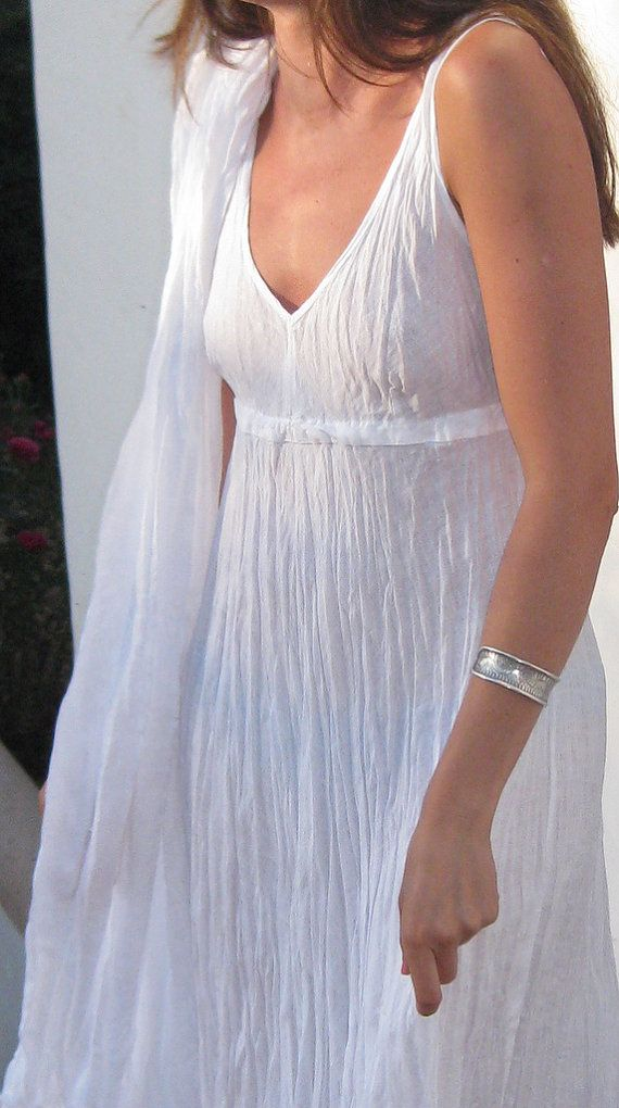 Pure White Long Crinkled Linen Dress By Azulsol On Etsy, $69.00