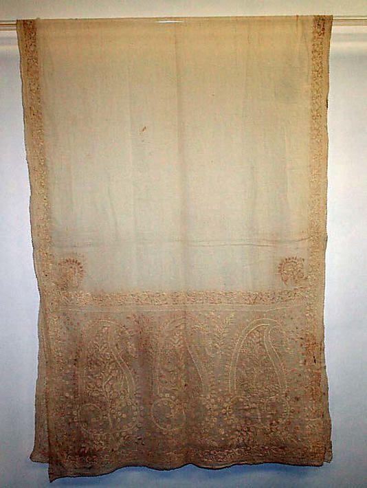 Shawl  Date: 1800–1810 Culture: American (probably) Medium: cotton Dimensions: Overall: 16 1/2 x 96 in. (41.9 x 243.8 cm)