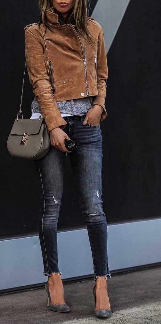 #fall #outfits ·  Zara Jeans + Shoulder Bag + Suede Jacket