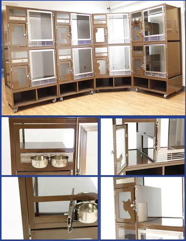 modular cat condos, great for adoption in animal shelter or humane society. Features include swivel/locking feeding system with separate litter area and storage on locking wheels.