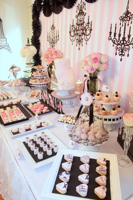 LOVE the background ...striped walls with decal chandeliers great for Parisian French party