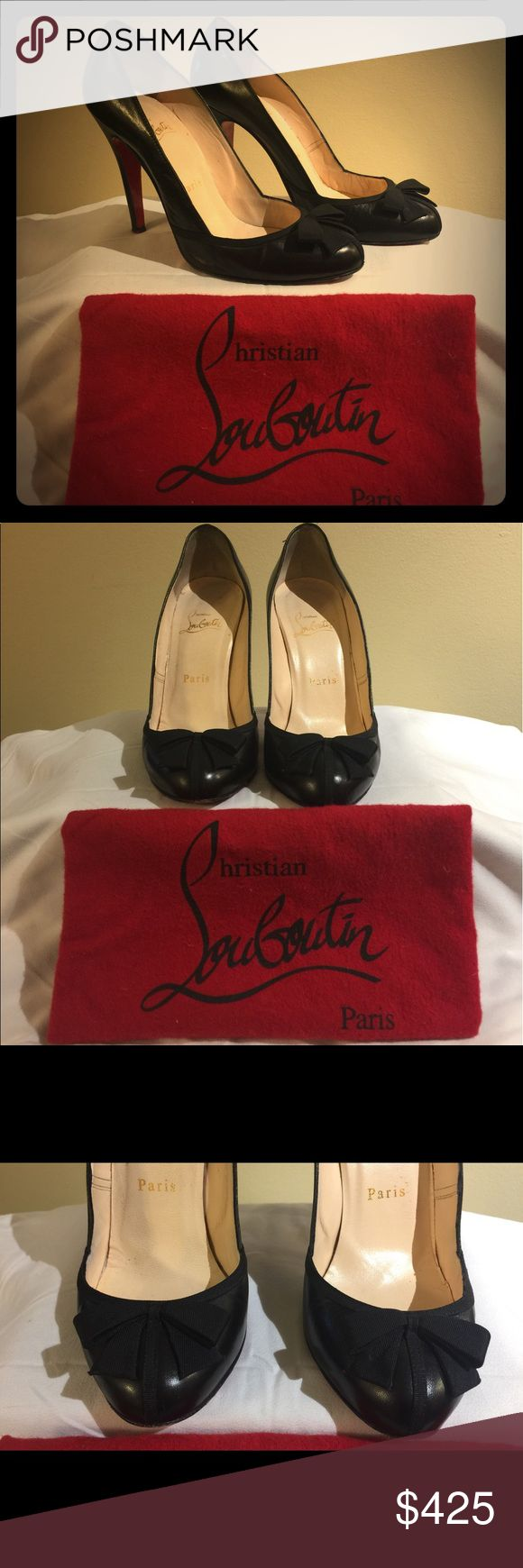 Christian Louboutin Pumps Christian Louboutin Lavallier Black Leather Bow Tie Pumps Christian Louboutin Shoes Heels